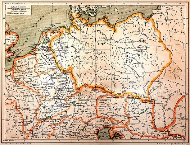 bildbanksillustrationer, clip art samt tecknat material och ikoner med germania in 2 century after christ - germany map leipzig