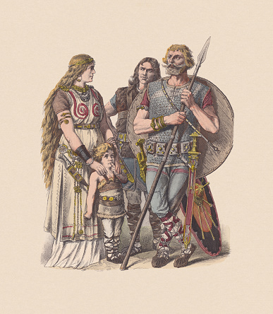 Germanic peoples, 3rd to 4th centuries, hand-colored woodcut, published c.1880