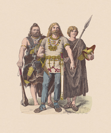 Germanic peoples, Anno Domini, hand-colored wood engraving, published ca. 1880