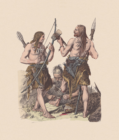 Germanic peoples during the Stone Age, hand-colored woodcut, published c.1880