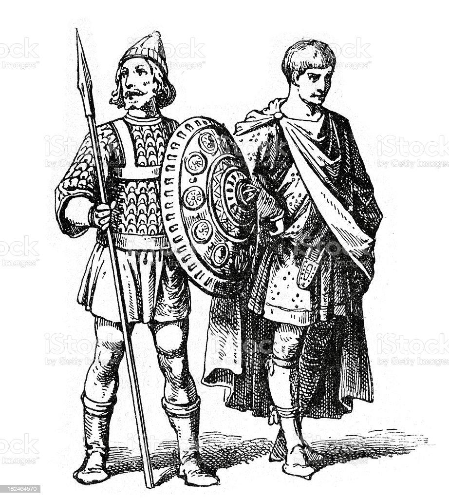 Germanic Warrior vector art illustration