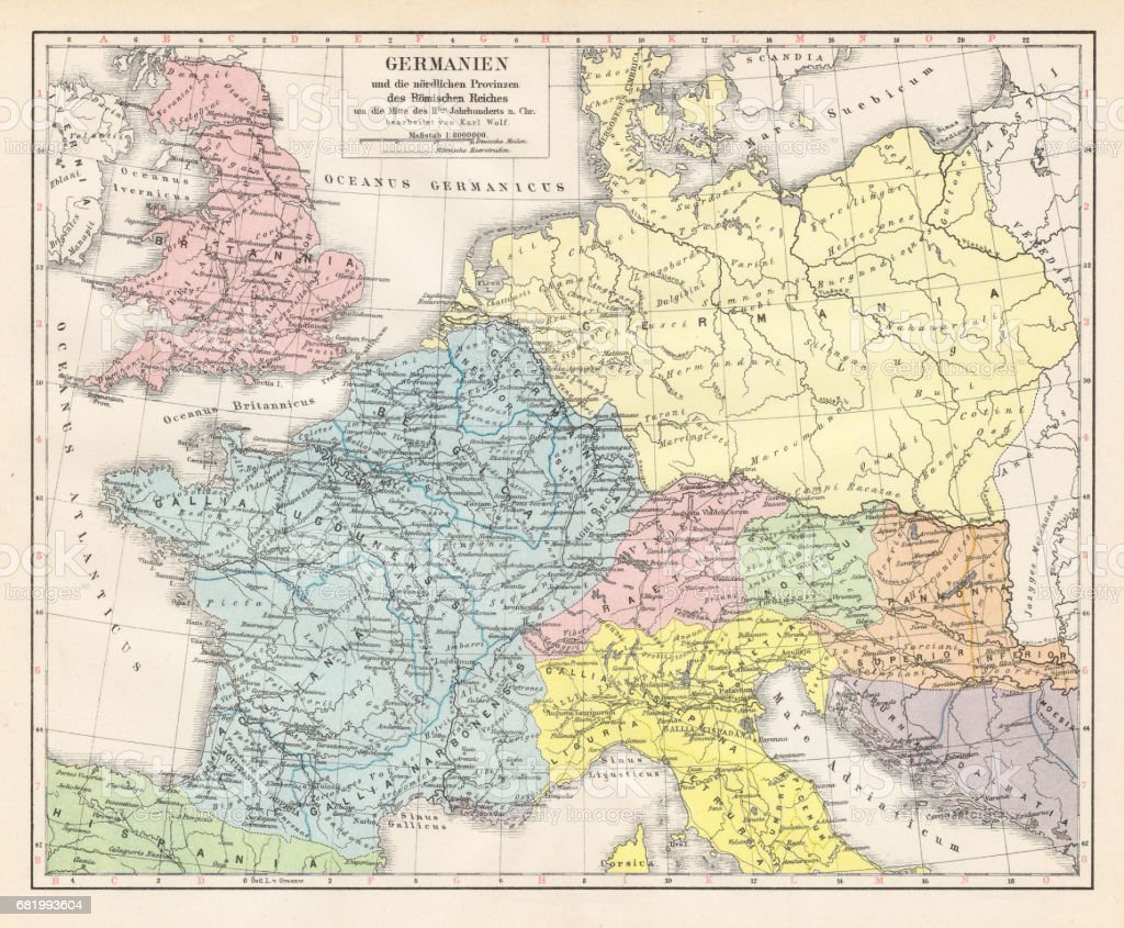 Germany And The Northern Provinces Of The Roman Empire Map 1895