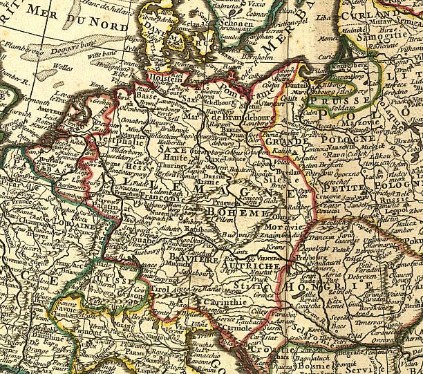 bildbanksillustrationer, clip art samt tecknat material och ikoner med germany old map close-up - germany map leipzig