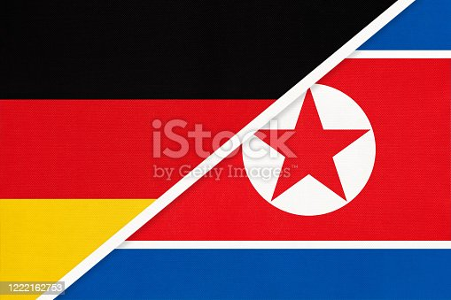 istock Germany vs North Korea, symbol of two national flags. Relationship between European and Asian countries. 1222162753