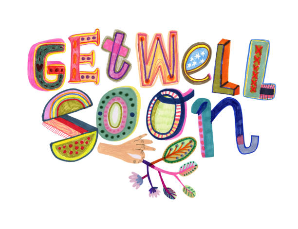 get well soon text - get well soon stock illustrations, clip art, cartoons, & icons