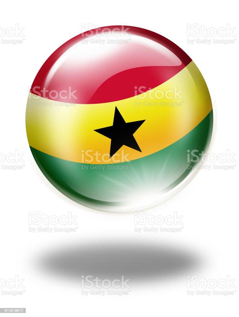 Botón de Ghana Ghana bandera aislado en blanco - ilustración de arte vectorial