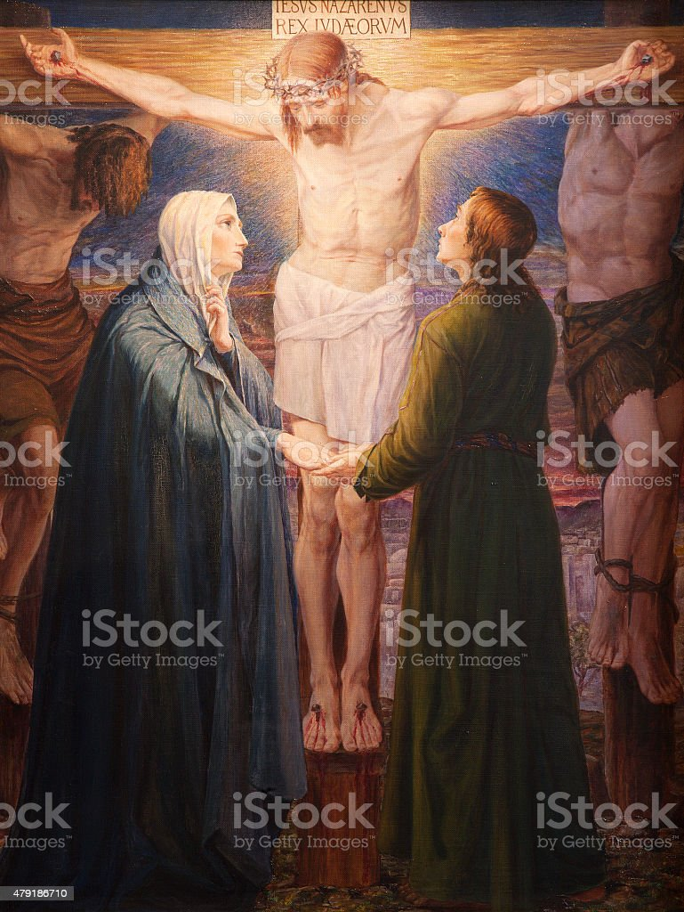 Ghent - Crucifixion paint in st. Peters church vector art illustration