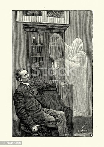 istock Ghost appearing before a man, Victorian 19th Century 1270053495