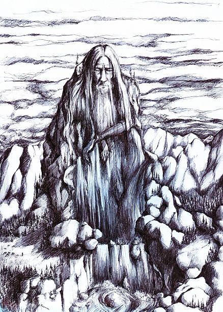 ghost  of mountains - old man sleeping drawing stock illustrations, clip art, cartoons, & icons
