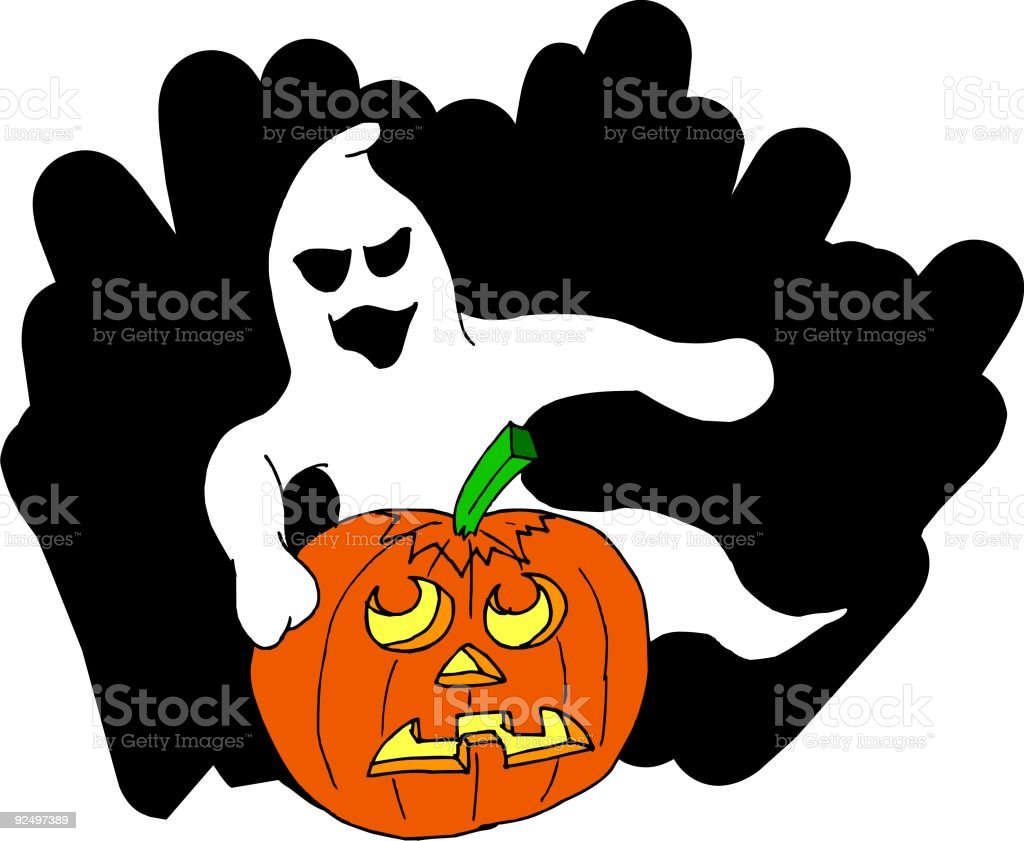 Ghost & Pumpkin 1 royalty-free ghost pumpkin 1 stock vector art & more images of carving food