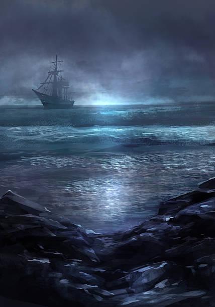 Ghost ship. Illustration of a cold dark blue sea landscape and ghost ship sailing on the horizon. pirate ship stock illustrations