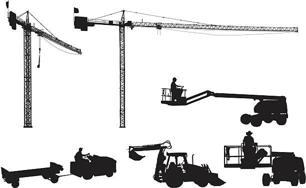 bildbanksillustrationer, clip art samt tecknat material och ikoner med giant construction cranes and other equipment - skylift