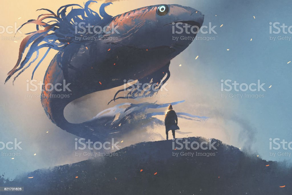 giant fish floating in the sky above man in black cloak vector art illustration