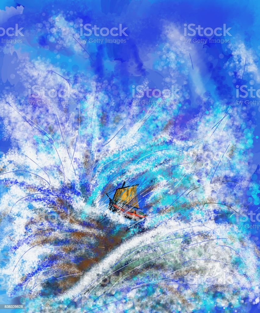 Giant floats A very impressionistic artistic creation. The waves of the hectic sea make the destiny of a poor boat uncertain. Art stock illustration
