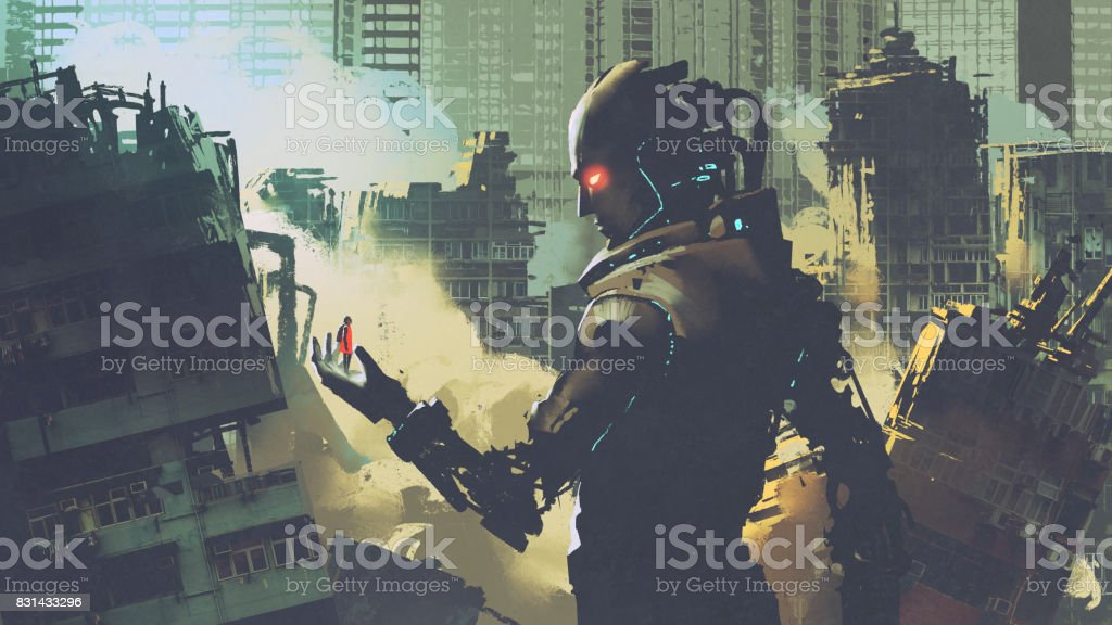 giant futuristic robot looking at woman on its hand vector art illustration