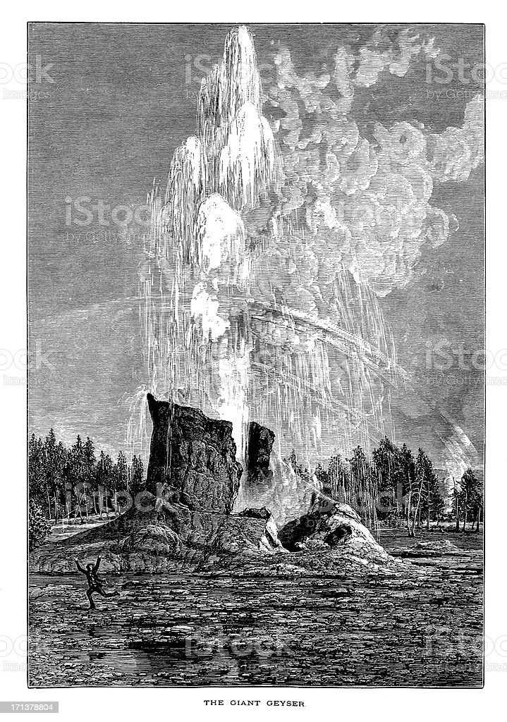Giant Geyser in Yellowstone National Park, USA | Historic Illustrations royalty-free stock vector art
