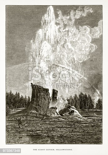 Very Rare, Beautifully Illustrated Antique Engraving of Giant Geyser, Old Faithful, Yellowstone Valley, Yellowstone National Park, Wyoming, Montana, and Idaho, United States, American Victorian Engraving, 1872. Source: Original edition from my own archives. Copyright has expired on this artwork. Digitally restored.