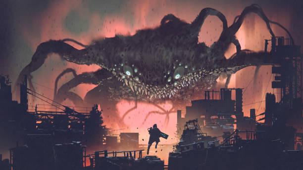 giant monster invading night city vector art illustration