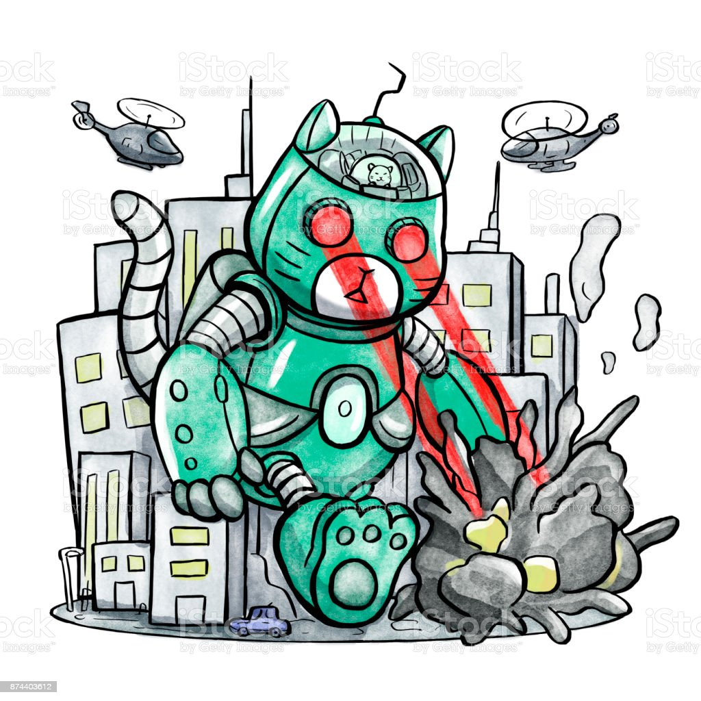 Giant Robot Cat Destroying The City Stock Vector Art More Images