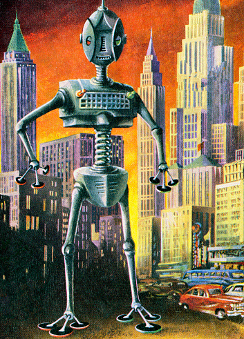 Giant Robot in Cityscape