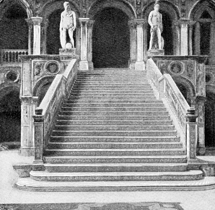 Giants' Staircase (Scala dei Giganti) in the courtyard of Palazzo Ducale in Venice, Italy. Vintage halftone etching circa late 19th century.