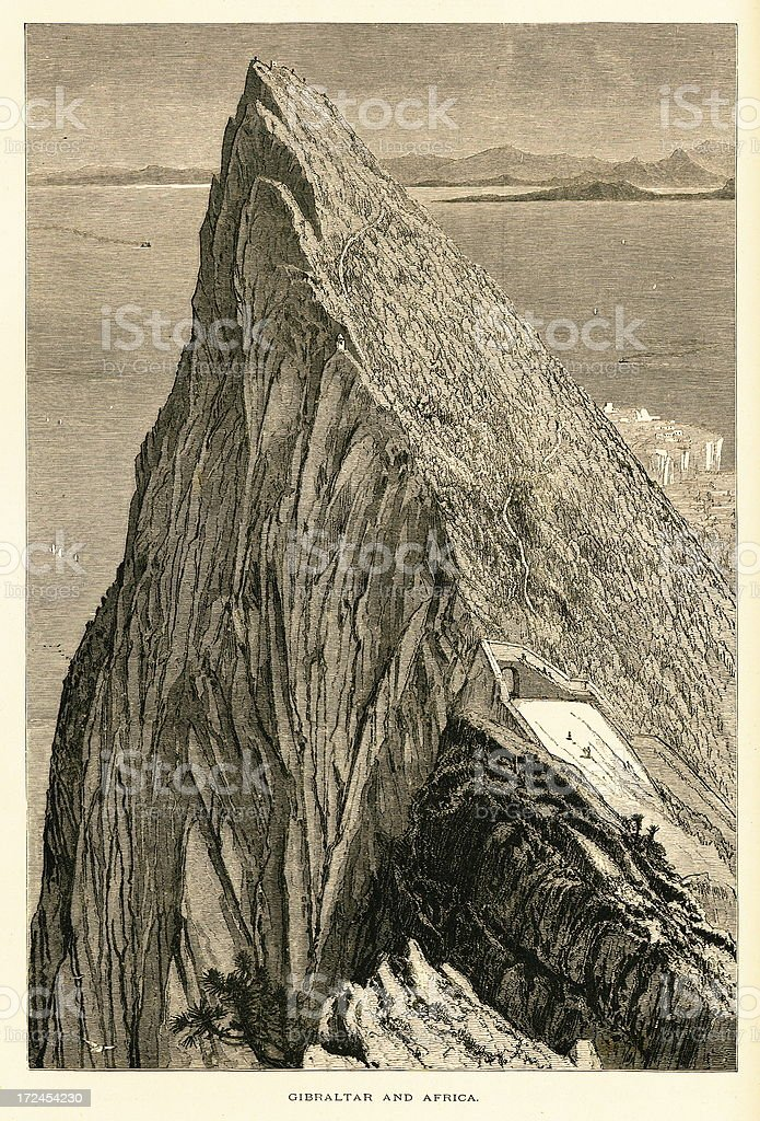 Gibraltar and Africa (antique wood engraving) royalty-free gibraltar and africa stock vector art & more images of africa