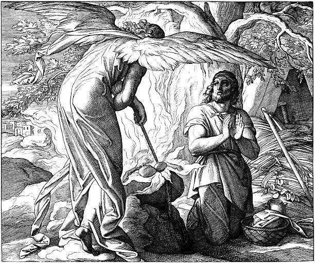 gideon and the angel of god - old man praying picture pictures stock illustrations, clip art, cartoons, & icons