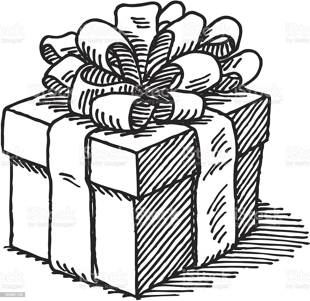 Line Art Box Design : Gift box drawing stock vector art istock