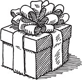 Hand-drawn vector drawing of a Gift Box with a nice ribbon. Black-and-White sketch on a transparent background (.eps-file). Included files: EPS (v8) and Hi-Res JPG.