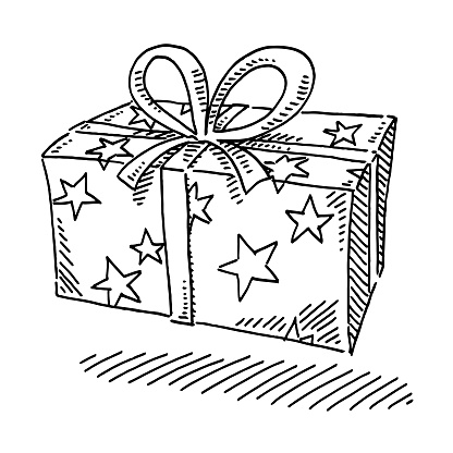 Gift Box Stars Wrapping Paper Drawing