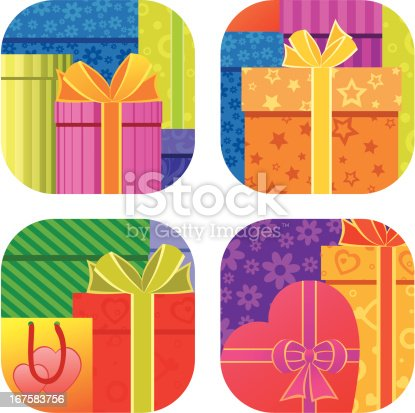 Background with assorted colorful gift boxes and paper bags
