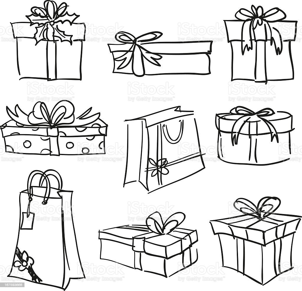 Gift boxes collection in black and white royalty-free gift boxes collection in black and white stock vector art & more images of bag