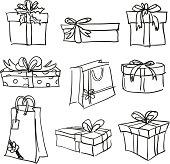 Sketch Drawing of different styles of gift boxes.