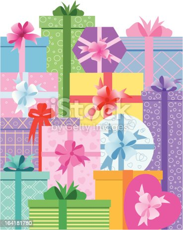 Gift boxes with decorative bows and ribbons.