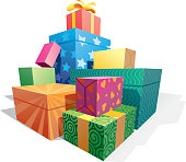 Pile of gift boxes.
