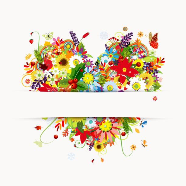 подарочные карты дизайн с цветочным сердцем, четыре сезона - four seasons stock illustrations