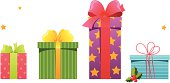 Set of different gifts with ribbons and bows.