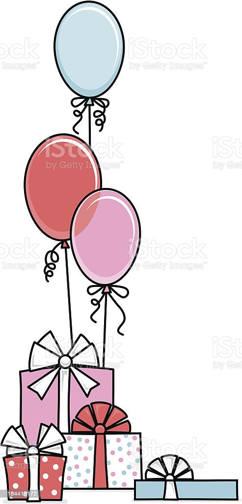 Gifts and Balloons vector art illustration
