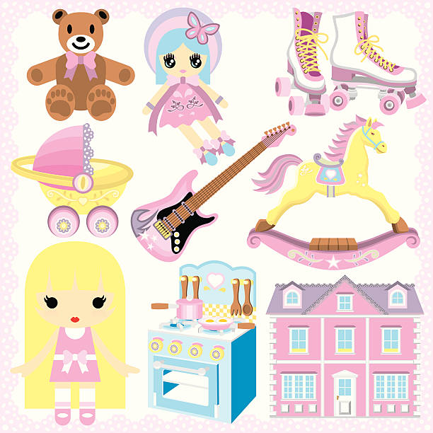 Gifts For Girls This set of cute and lovely toys make great gift ideas for girls! dollhouse stock illustrations