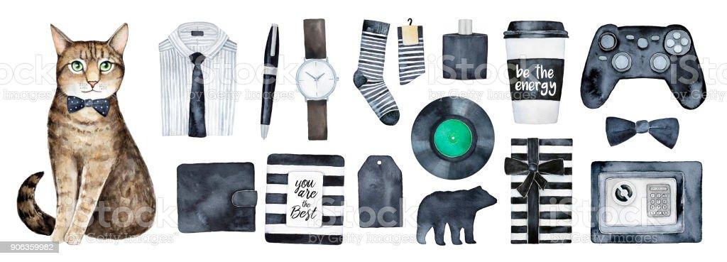 Gifts for men, presents set. vector art illustration
