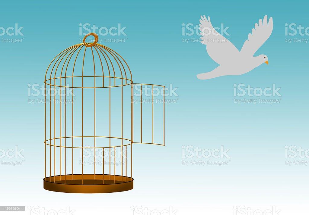 Gilded cage escape concept, freedom metaphor vector art illustration