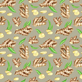 Ginger root seamless pattern with slices and leaves. Hand drawn watercolor ginger rhizome on silver gray background. Botanical design for kitchen textile, food packaging, menu, essential oil.
