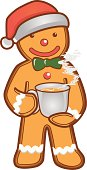 Vector illustration of Gingerbread Man holding a cup of tea.
