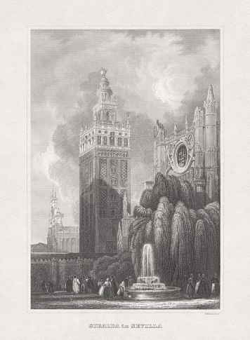 Giralda, Cathedral in Seville, Spain, steel engraving, published in 1857