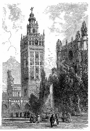 istock Giralda, Seville Cathedral in Seville, Spain 859591412