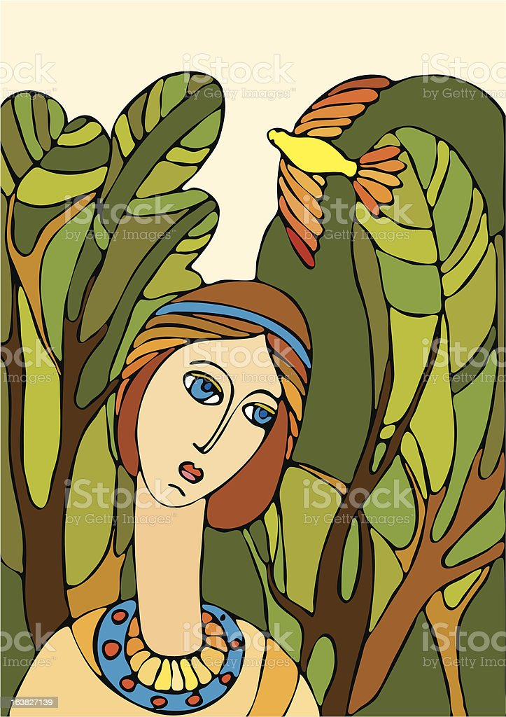 girl and bird royalty-free girl and bird stock vector art & more images of adult