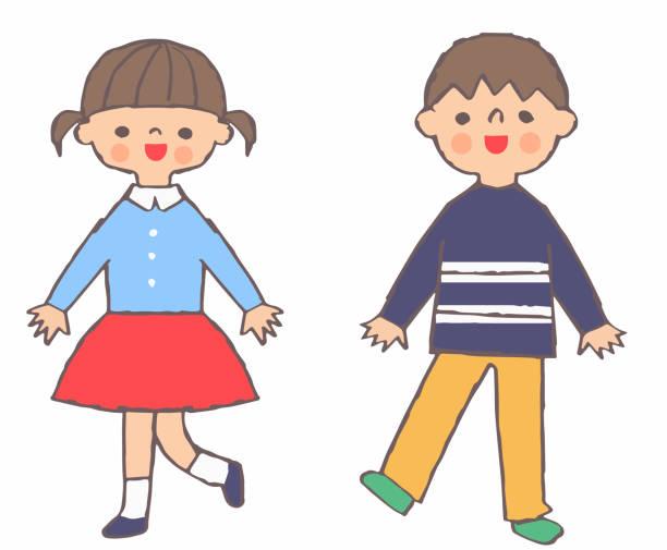 illustrazioni stock, clip art, cartoni animati e icone di tendenza di girl and boy standing with a smile - two students together asian