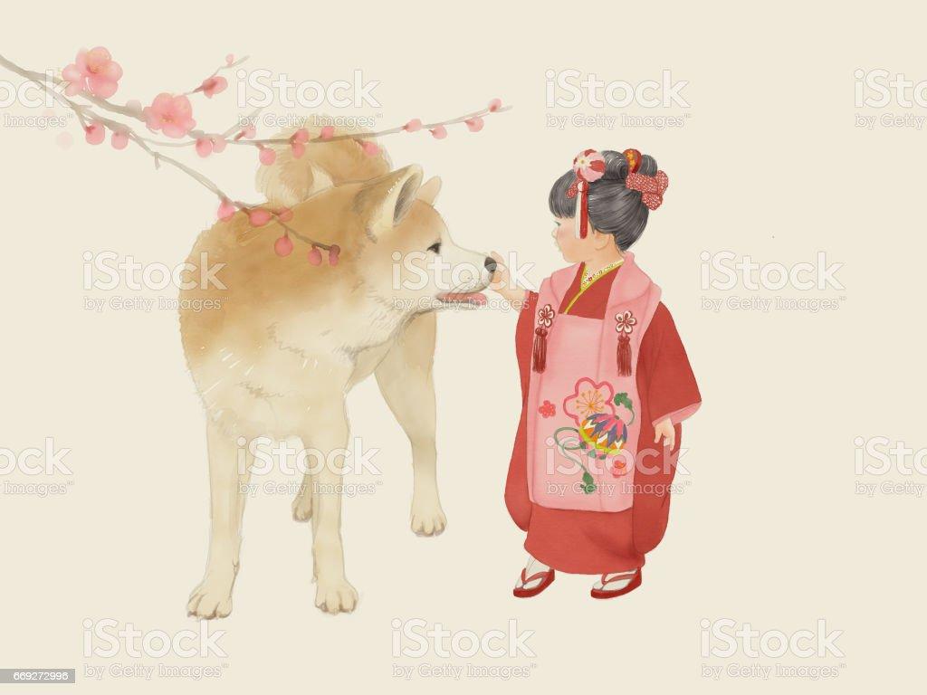 Girl and Dog – artystyczna grafika wektorowa