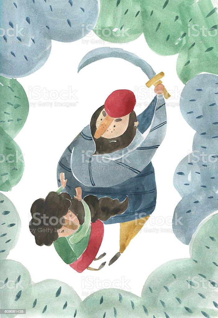 Girl and hunter - ilustración de arte vectorial