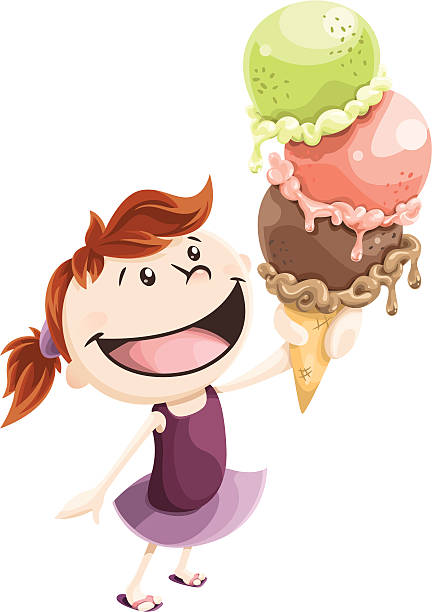 Girl and Ice Cream vector art illustration